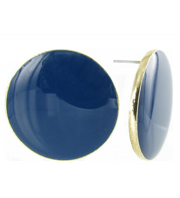 Large Round Coin Shaped Stud Earrings in Enamel and Gold Plating - Royal Blue - CK12N3EDRKM