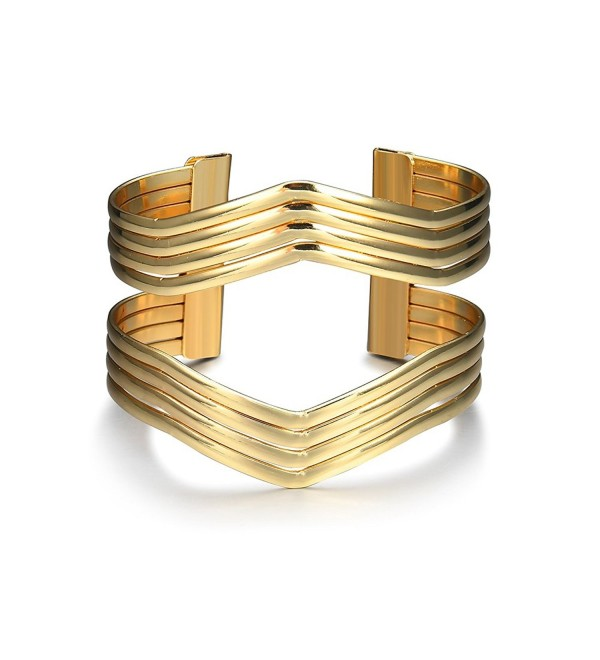 Starshiny Gold Tone Wave Geometric Bracelet Punk Charm Metal Cuff Bangles for Women - Geometric - CW184XWWW8N