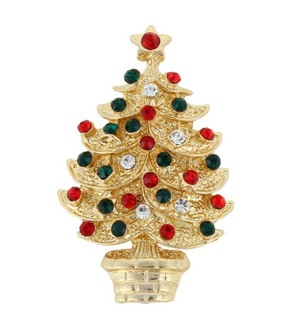 EVER FAITH Austrian Crystal Layers Star Wishing Tree Brooch Pin Multicolor - Gold-Tone - CO11QHTV7RZ