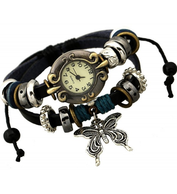 Retro Style Butterfly Charm Leather Multistrand Wrist Watch Bracelet - CE11Y25Z05L