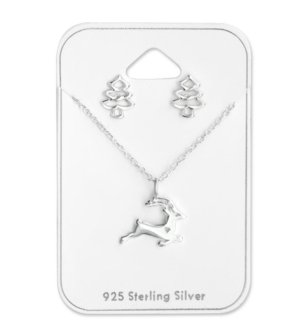 925 Sterling Silver Reindeer Necklace & Christmas Tree Stud Earrings Set 28959 - CD12LJH1L7F