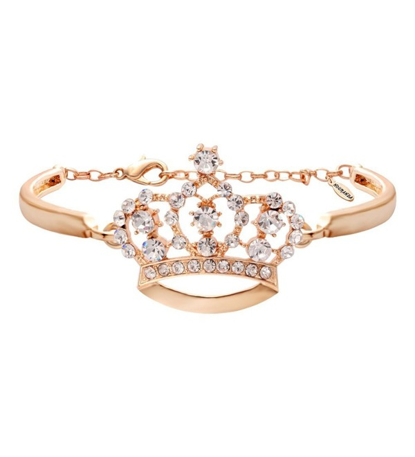 NOUMANDA Fashion Crystal Crown Bracelets Simple Jewelry for Women - rose gold - CB12HZ3O1DD