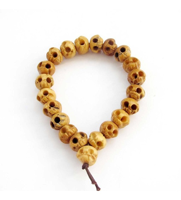 10mm X 12mm Ox Bone Carved Skull Beads Wrist Japa Mala Bracelet for Meditation - CF1170ANER5