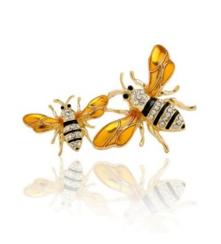 PANGRUI Exquisite Enamel Big and a Small Bumblebee Brooch Pin with Crystal rhinestones - Gold - CC185X30AYR