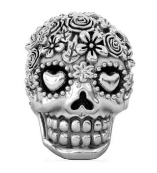 BELLA FASCINI Bouquet Dia de Los Muertos Skull Bead Fits All Compatible European Charm Bracelets - C2116SSILFV