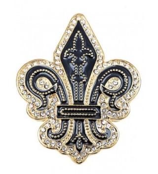 Alilang Golden Tone Black Gothic Medieval Royal Fleur De Lis Lily Brooch Pin - CK119LR4JAV
