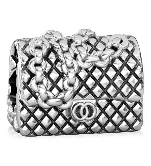 BELLA FASCINI Designer Quilted Chain Purse European Bead Charm Sterling Silver Fits Bracelets - CV128PKNR1R