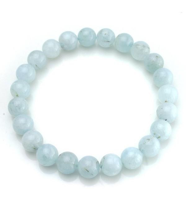 BEADNOVA Aquamarine Gemstone Bracelet Birthstone - Aquamarine Beads Stretch Bracelet 6mm - CM11OCRHTKX