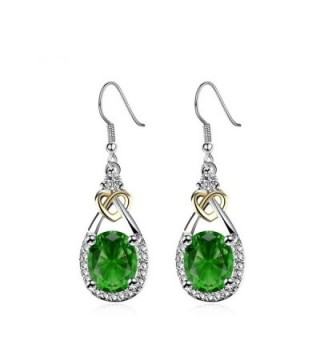 Miss Chen Silver Plated Heart Blue Teardrop Zircon Hook Dangle Earrings for Women - Green - C71857GZZO6
