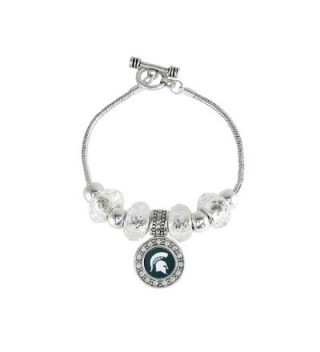 Michigan State Spartans Slider Clear Glass Bead Silver Toggle Bracelet Jewelry - C912468Z8E1
