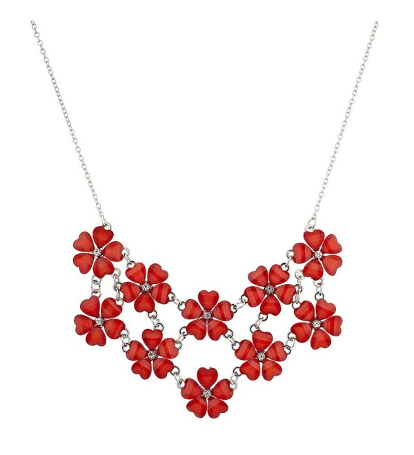 Lux Accessories Multi Color Floral Flower Mini Special Occasion Statement Necklace - Red - C812HL7HP13
