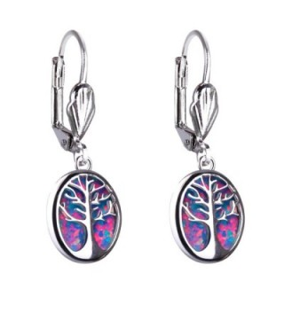 Kelitch Jewelry Created-Opal Tree of Life Earrings- Sterling-Silver Lever Back Oval Drop Earrings - Rose Red - CY18909XD3Q