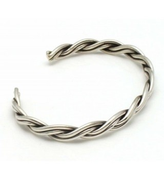 Braided Silver Wire Bracelet Tahe in Women's Cuff Bracelets