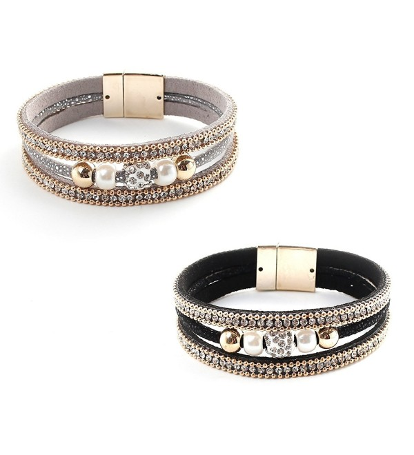 Velvet Multi Strap Imitation Pearl and Rhinestone Bracelet 2 Pack- Gold Plated - Gray and Black - CK184I9A4S9