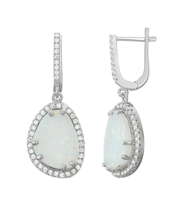 Sterling Silver Created White Opal & CZ Oval Dangle Earrings - CG129JYY343