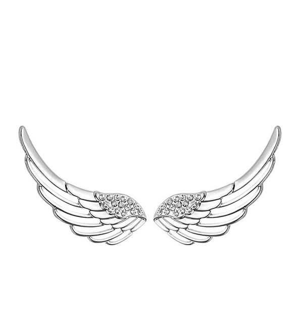 Mariafashion Women's 925 Sterling Silver Ear Cuffs Crystal Angle Swings Stud Earrings - CG12N5GKA5P