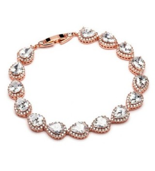 "Mariell 6 1/2"" Rose Gold Pear-Shaped CZ Wedding Bridal Tennis Bracelet - Petite Size for Small Wrist - CM12O8LXTGJ"
