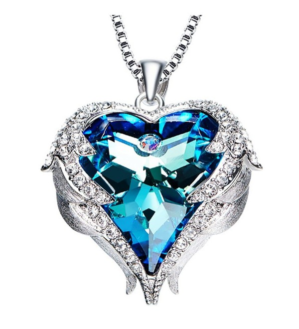 "NEHZUS ""Heart of the Ocean"" Love Heart Pendant Necklace for Girlfriend Love Wife-Crystal from Swarovski - CL186GSUWZ2"