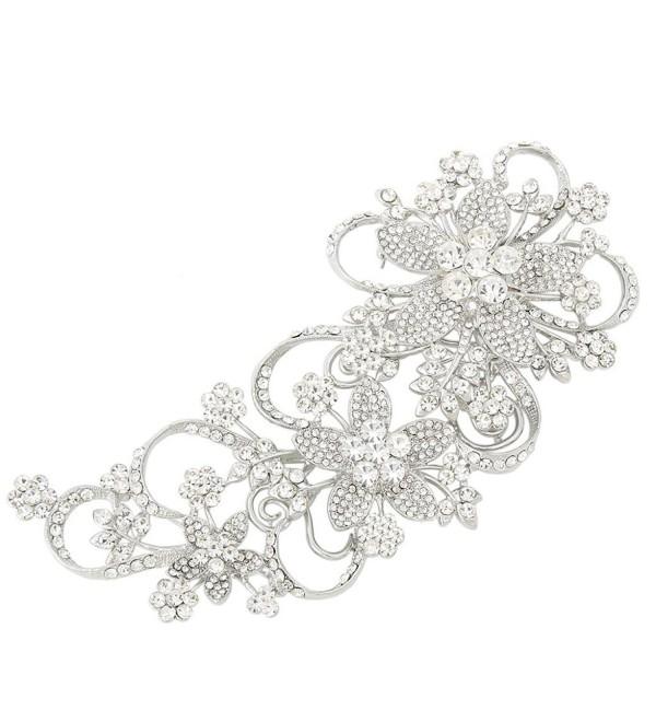 EVER FAITH Bridal 6.5 Inch Teardrop Floral Petal Brooch Clear Austrian Crystal Silver-Tone - CM11JN4ZUT7