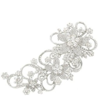 EVER FAITH Bridal 6.5 Inch Teardrop Floral Petal Brooch Clear Austrian Crystal Silver-Tone - CM11JN4ZUT7