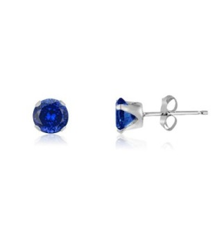 Round 3mm Simulated Tanzanite Blue CZ Stud Earrings (0.36 cttw) Sterling Silver- 14k Yellow or Rose Goldplate - CG11IWLDDRX