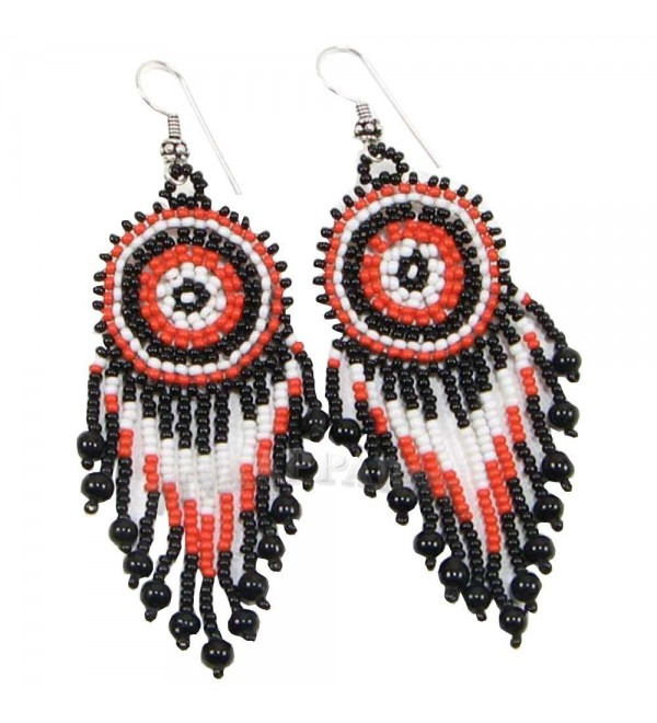 CORAL BLACK WHITE SEED BEADS ROUND EARRINGS - E-16-SB-54 - C812LUJHDRJ