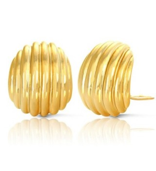 JanKuo Jewelry Gold Plated Shell Textured Clip On Earrings - C611AZCNI21