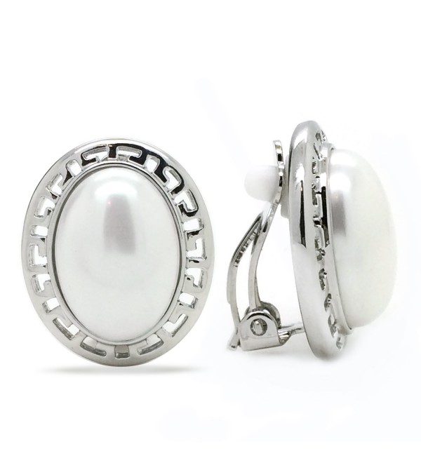 Simulated Pearl Clip On Earrings Greek Key Oval Rhodium Plated Women Fashion - CH11NF2QXDZ