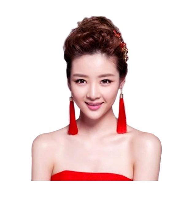 Shoopic 2 Pairs Boho Long Tassel Dangle Earrings Set Bon Bon Drop Earrings for Women - red long and sector - CF189Y98CR2
