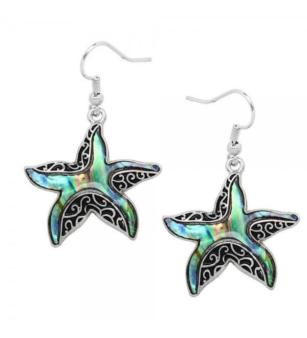 Liavy's Starfish Fashionable Earrings - Vine Filigree - Fish Hook - Abalone Paua Shell - Unique Gift and Souvenir - CQ12B57VIQ3
