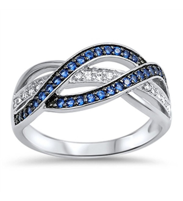 Blue Simulated Sapphire Wide Weave Knot Ring New .925 Sterling Silver Band Sizes 5-12 - CX17AYZ7N2Z
