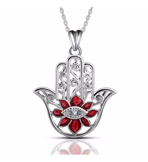 """EUDORA Sterling Silver Necklace """"Hamasa hand with Evil Eyes"""" Religious Choker 18"""" Chain - Red - CX188NHXH06"""