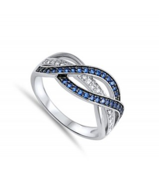 Simulated Sapphire Weave Sterling Silver