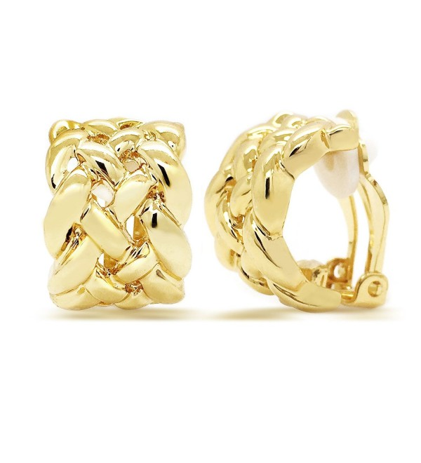 Vintage Clip On Earrings Celtic Knot Gold Plated Braided Woven Women Fashion - CO12BLD235B