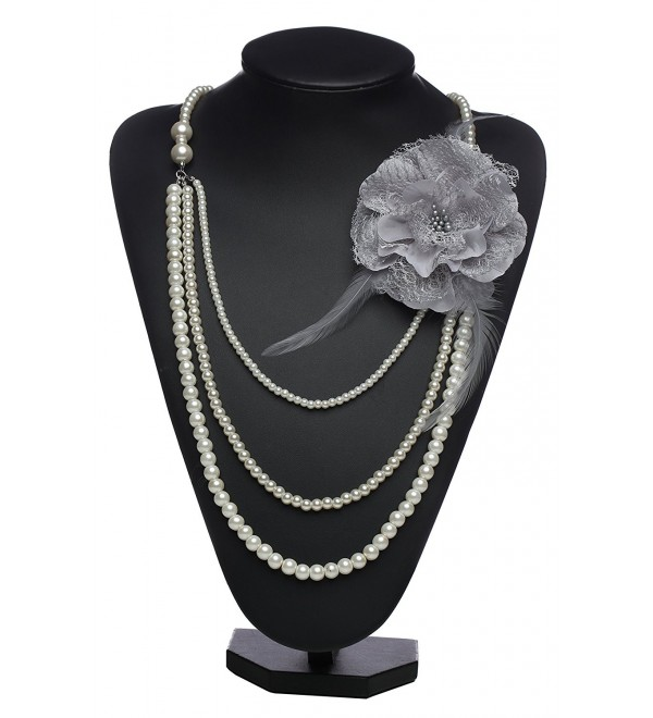 BABEYOND Vintage 1920s Gatsby Multi-layer Imitation Pearl Choker Necklace with Lace Flower Brooch - Grey Flower - CX1832YQE2G