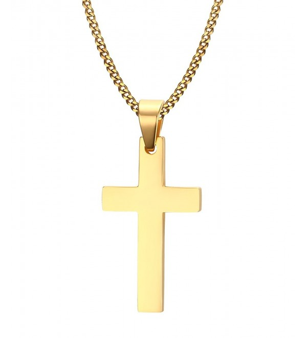 Cross Necklace- Quantum 3mm Stainless Steel Pendant Chain for Men Women - 22 Inch Gold 20x35mm - CR12NABE5TG