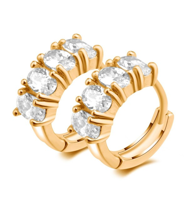 IPINK Gold Plated Cz Zircon Hoop Earrings - CS11XV4V8EV