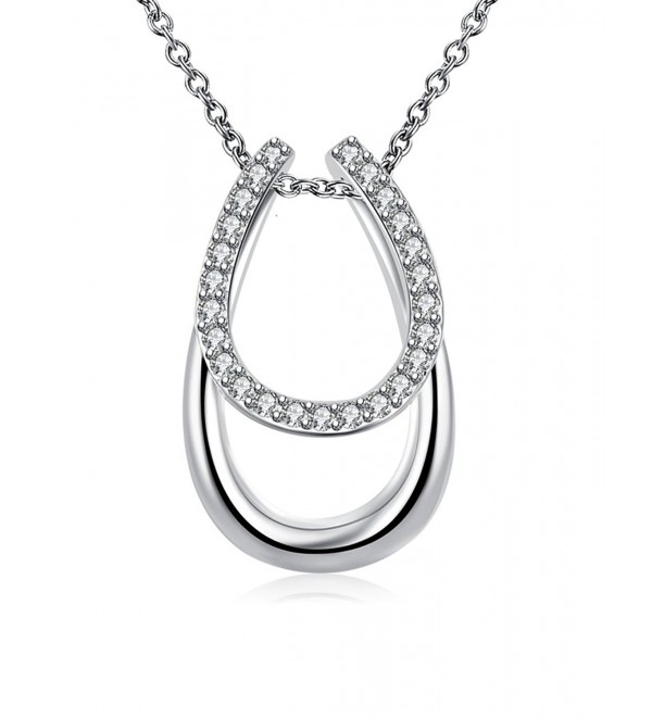 Godyce Horse Shoe Horseshoe Pendant Necklace Sterling Silver Plated for Women Zircon Jewelry - CK12MAKO76N