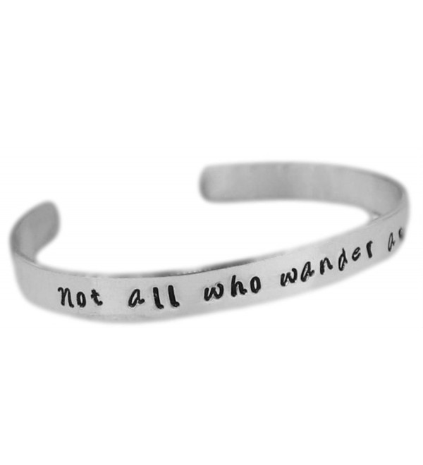 "Not All Who Wander Are Lost - Hand Stamped 1/4"" Aluminum Cuff - CA11JP0LNHR"