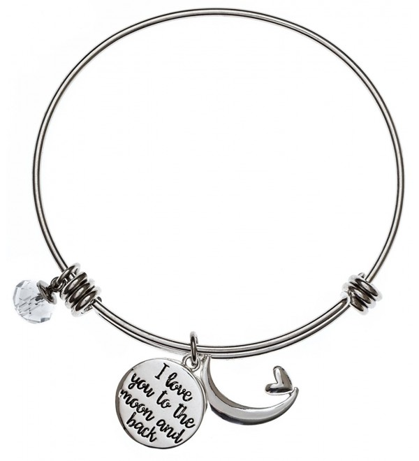 Carly Creation I Love You To The Moon And Back Silver Expandable Charm Bangle Bracelet - C712JQPPXDZ