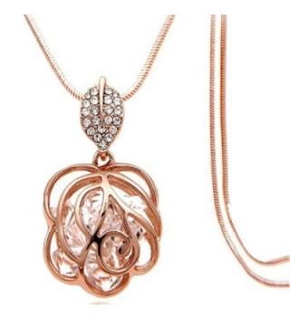 Z-Jeris Fashion Rhinestone Crystal Stuffing Hollow Flower Pendant Long Chain Necklace - Rose Gold - CG12JN1JMEN