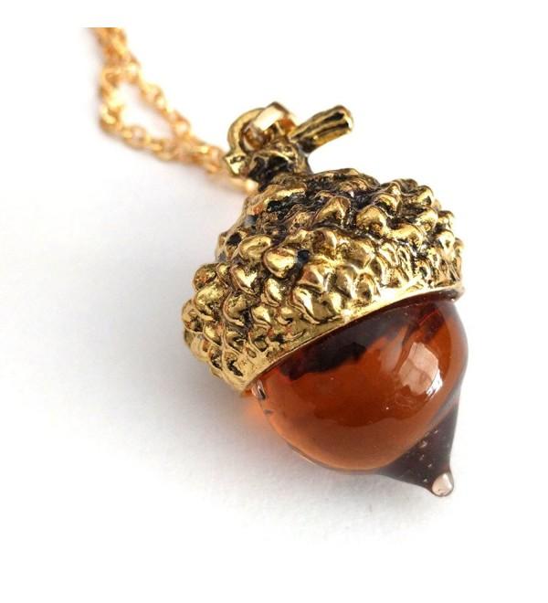 Joji Boutique: Golden Amber Glass Acorn Pendant Necklace - CT184Y7W5G3