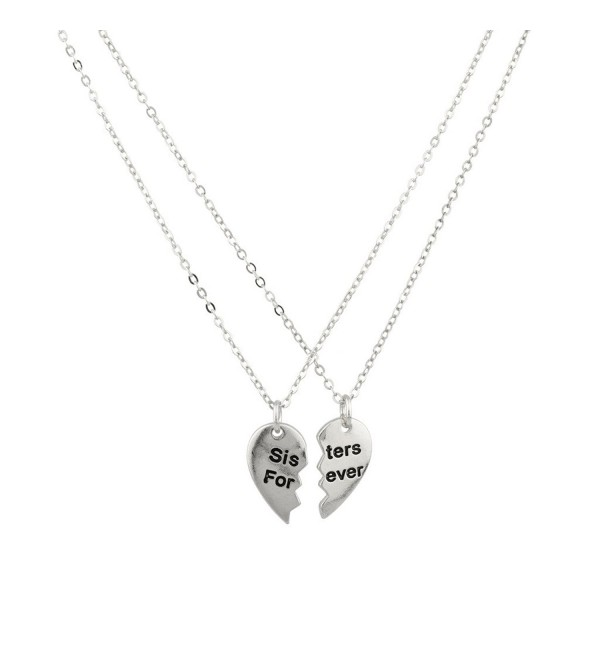 Sisters Forever Broken Heart Big Sis Lil Sis BFF Best Friends Necklace Set. - C111VUAQU8B