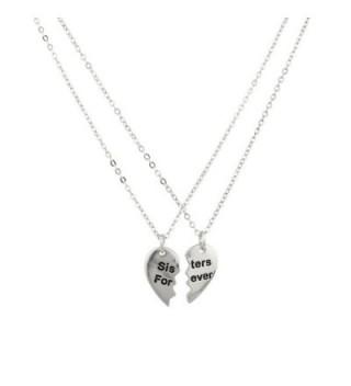 Sisters Forever Broken Heart Big Sis Lil Sis BFF Best Friends Necklace Set. - C111VUAQU8B