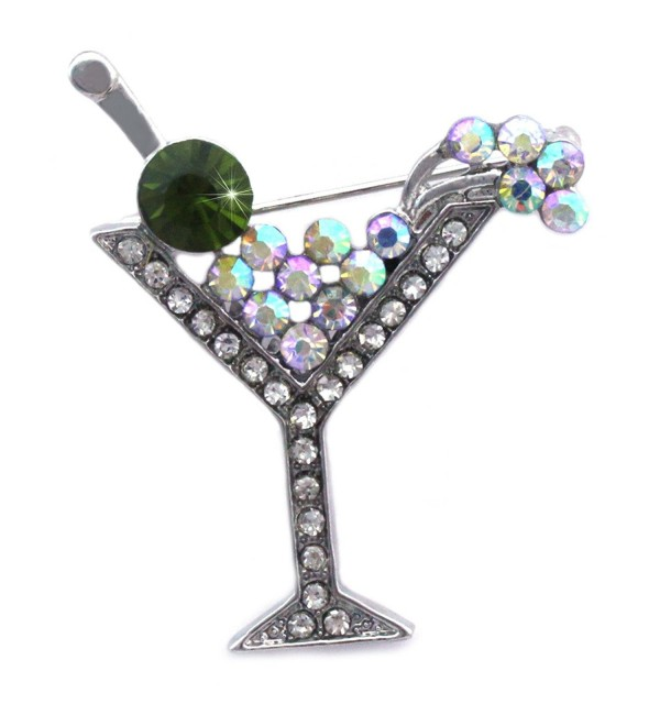 cocojewelry Cherry Martini Glass Cocktail Party Brooch Pin Women Fashion Jewelry - Green - CG11Q7X5TQB