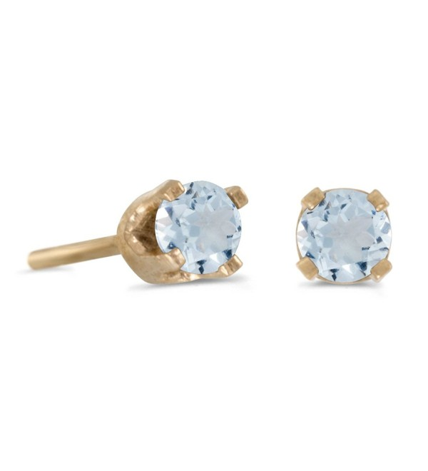 3 mm Petite Round Genuine Aquamarine Stud Earrings in 14k Yellow Gold - C3115FZKNHR
