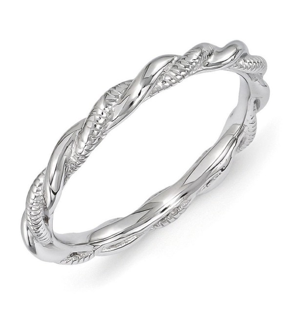 2.5mm Rhodium Plated Sterling Silver Stackable Twisted Band - CJ12K7JF8CF