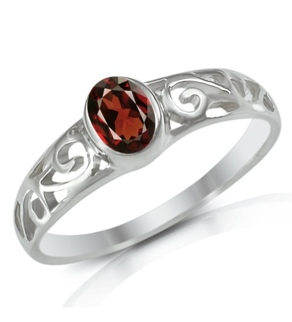 Sterling Silver 0.5 Ct Genuine Red Garnet Gemstone Scroll Filigree Band Ring Size 5- 6- 7- 8- 9- 10 - CC11M0O18CZ