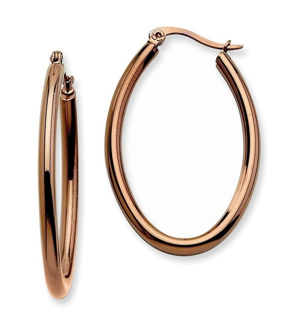 Stainless Steel Brown IP Plated 40mm Oval Hoop Earrings - CP115EY967H