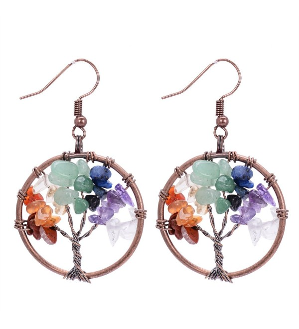 Sedmart Tree of life Drop Amethyst Rose Crystal Earrings Gemstone Chakra Jewelry Best Gifts - A: chakra - CF12N7AUYRZ